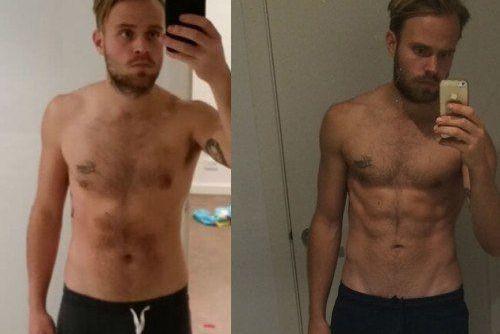 До и после выполнения упражнений на пресс.